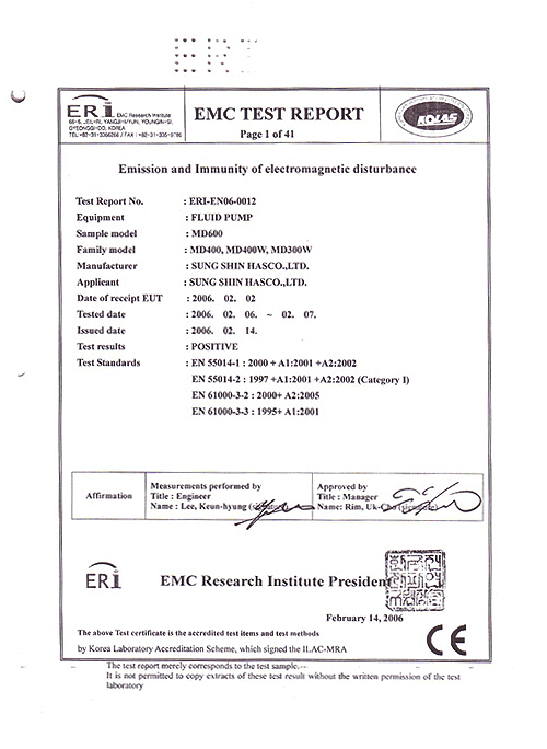 Sungshin HASCO - Certification